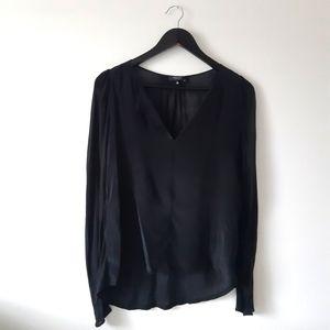 BABATON With Silk Long Sleeve Black Blouse